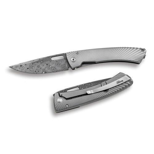 Messer LionSteel TiSpine Chad Nichols Damast Raindrop rostfrei Titan natur matt Vollmetall TS1DRGM