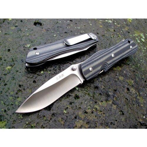 Messer Sanrenmu 9051 SUC-GHV grau schwarz Slipjoint 18Cr13MoV  Stahl Outdoor Taschenmesser