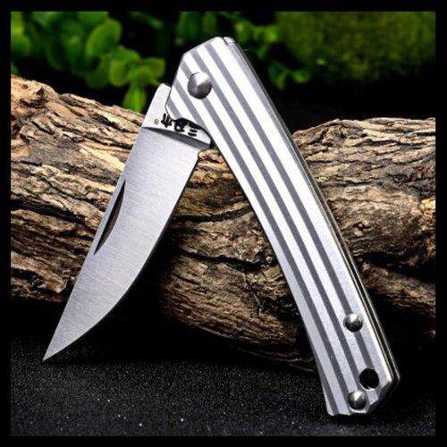 Messer Sanrenmu Stripes 42a Silber 4Cr15N Stahl Gentleman Vollmetall 7112RUC-LM