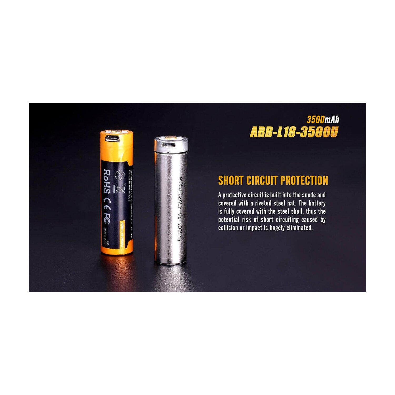 2x Fenix Akku 18650-3500mAh LiIon mit USB
