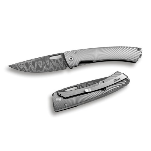 Messer LionSteel TiSpine Chad Nichols Damast rostfrei Fate Titan Grau Matt Vollmetall TS1DFGM
