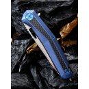 WE Knife Caliber CPM-S35VN Flat Titan Carbon / Kohlefaser Blau Satin Keramikkugellager Glasbrecher WE808A