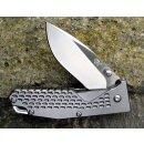 Sanrenmu Taschenmesser 8Cr13MoVStahl Vollmetall Metallgrau Outdoor Survival