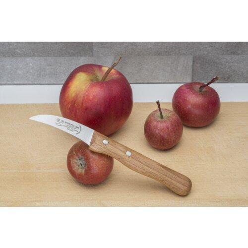 Kneipchen gebogen Kartoffel Schälmesser Messing Nieten Handarbeit Solingen Kreuzblume Holzgriff Buche Messingnieten
