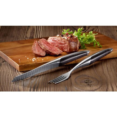 sknife Steakbesteckset Damast Esche stabilisiert zweiteilig