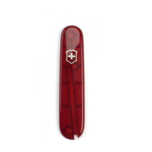Victorinox Griffschalen 91 mm transparent rot vorn + Logo