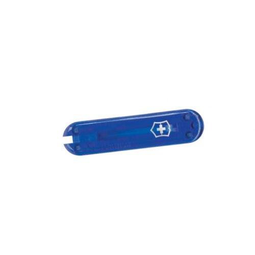 Victorinox Griffschalen 58 mm transparent blau vorn + Logo