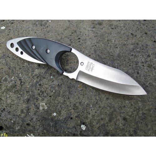 Linder Neckknife und Belt Knife schwarz Anglermesser Fischermesser 420er Stahl rostfrei