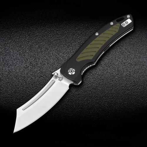 QSP Knife Platypus Sandvik 14C28N Stahl satin G10 schwarz / grün  Keramikkugellager
