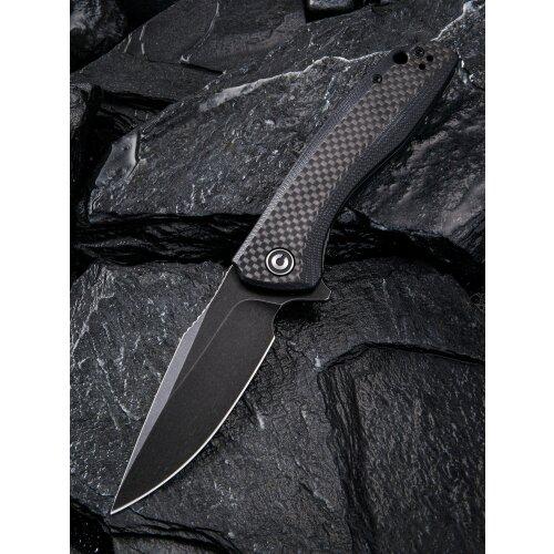 CIVIVI Baklash Schwarz - 9Cr18MoV Stahl black stonewashed finished G10 Griffschalen mit Kohlefaserauflage Kugellager Flipper