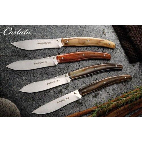 2 Steakmesser  Viper Tecnocut Italien Costata AISI 440 Stahl  Olivenholz-Griff Clip-Point Klinge VT7504/02UL