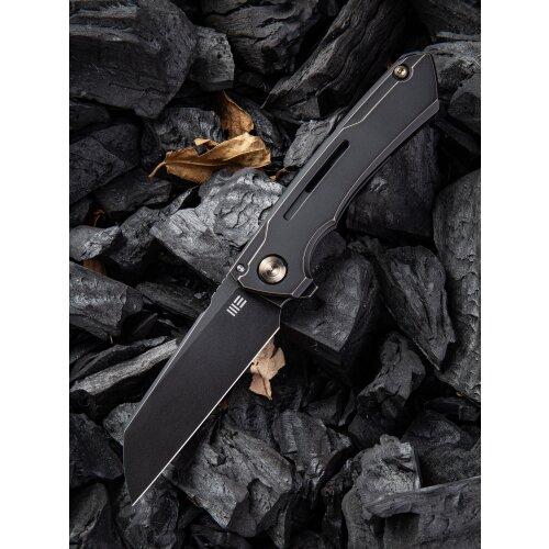 WE Knife WE2003 Mini Buster CPM 20CV Stahl Black Stonewashed Titan Antique Bronze Design Snecx Tan