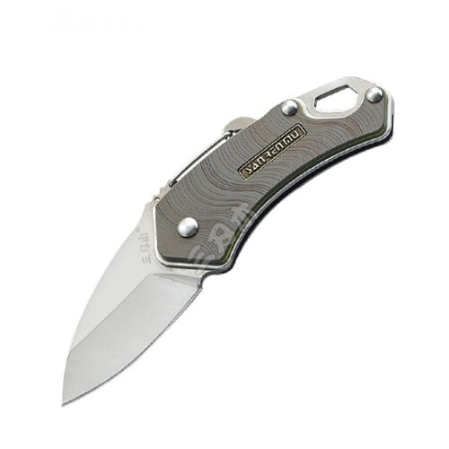 Sanrenmu 4077MUC Slipjoint Zweihand Minimesser 4Cr15N stonewashed Vollmetall grau gemustert Outdoor