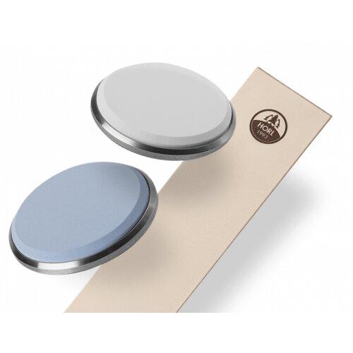 HORL Premiumschärfe Paket 2 Edelkorundschleifscheiben 3000 & 6000er und Abziehleder