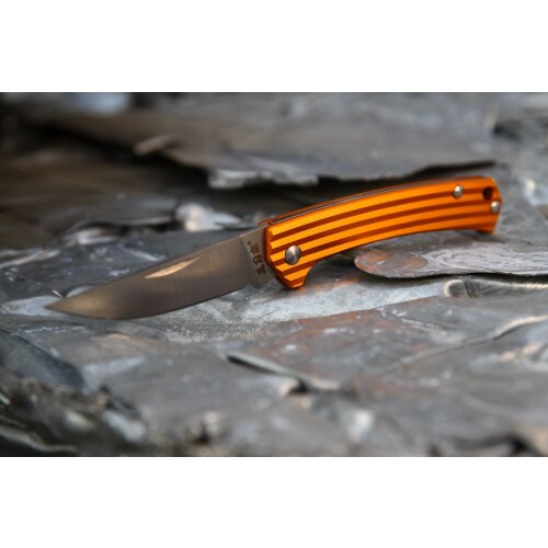 Messer Sanrenmu Stripes Mini 42a Orange 8Cr13MoV Gentleman Vollmetall 4112SUX-LJ