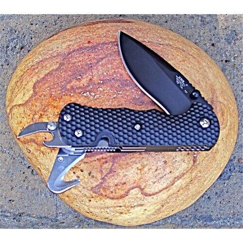 Sanrenmu Rettungsmesser Schwarz Glasbrecher Gurtschneider 8Cr13MoV  ZB4-T21